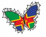 Ripped Torn Metal Butterfly Design With Lincolnshire County Flag Motif External Vinyl Car Sticker 125x90mm